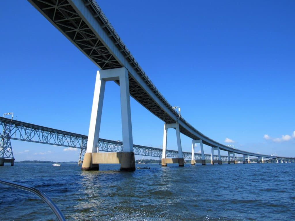 Chesapeake Bay Bridge on a sunny summer day seen from a boat on the Chesapeake Bay near Annapolis, Maryland USA