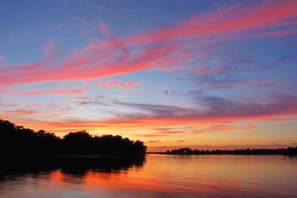 sunset over bay
