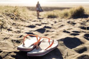 flip flops on beach